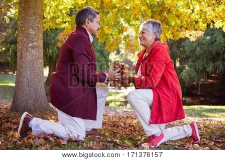 Side view of mature couple holding autumn leaves while kneeling in park