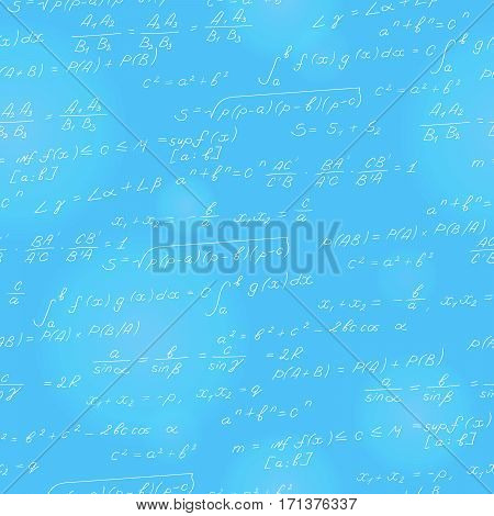 Seamless pattern on the theme of the subject of mathematics formulas theorems light characters on a blue background