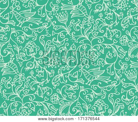 Seamless floral pattern background with birds and flowers on green illustration