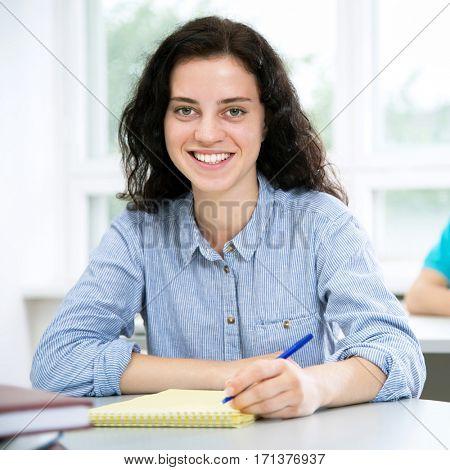 Pretty female university student portrait