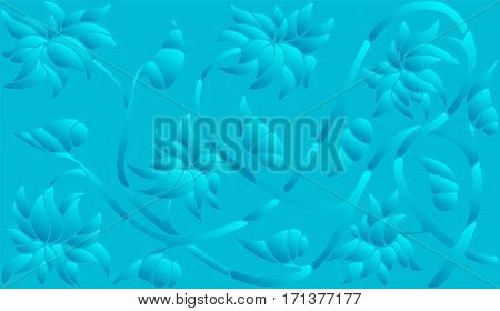Background illustration with abstract flowers blue halftone horizontal orientation