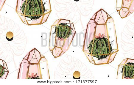 Hand drawn vector abstract seamless pattern with golden terrariumpolka dots texturetropical palm leaves and cacti plants in pastel colors isolated on white bakground.Design for fashion fabricdecor