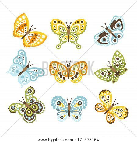Fantastic Tropical Butterfly With Funky Design Patterns On The Wings Set Of Creative Insect Drawings. Cute Decorative Isolated Butterfly Prints With Geometric Shapes Texture.