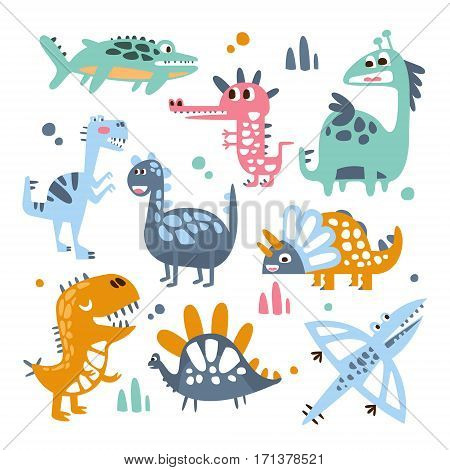Funky Stylized Dinosaurs Real Species And Imaginary Jurassic Reptiles Set Of Colorful Childish Prints. Decorative Design Giant Extinct Animals With Teeth And Scales, Friendly Toy Creatures Illustrations.