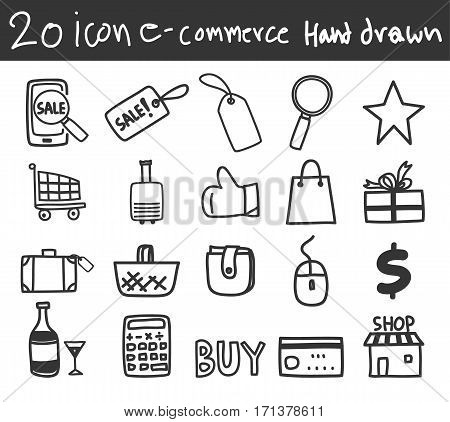 icon business e-commerce shopping vector hand drawn line art illustration