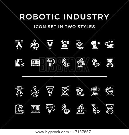 Set icons of robotic industry in two styles isolated on black. Vector illustration