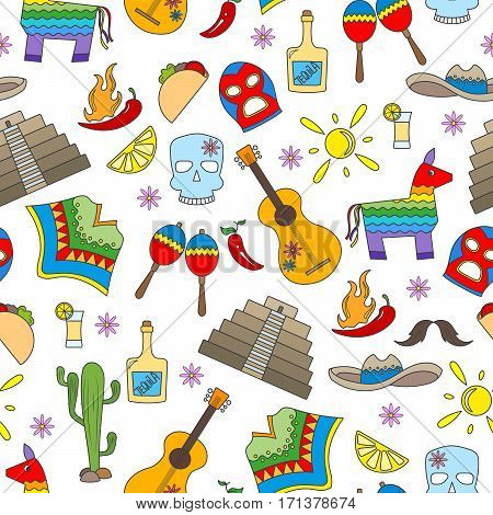 Seamless pattern on the theme of recreation in the country of Mexico colorful icons on white background