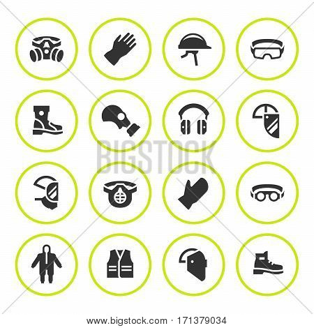 Set round icons of personal protective equipment isolated on white. Vector illustration