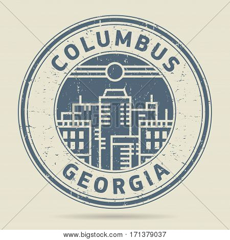 Grunge rubber stamp or label with text Columbus Georgia written inside vector illustration
