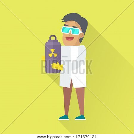 Scientists physicist in white robe and glasses holding gray container containing radioactive materials. Scientists in lab. Science and technology development, scientific research, research