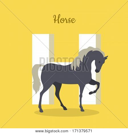 Animal alphabet vector concept. Flat style. ABC with domestic animal. Prancing horse standing on yellow background, letter H behind. Educational glossary. For children s book, textbook illustrating