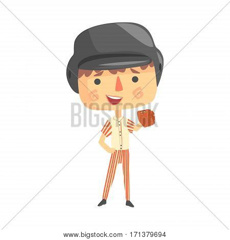 Boy Baseball Player, Kids Future Dream Professional Occupation Illustration. Smiling Child Carton Character With Career Attributes Cute Vector Drawing.
