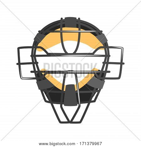 Metal Wire Face Protection Catcher Mask, Part Of Baseball Player Ammunition And Equipment Set Isolated Objects. Cartoon Realistic Sport Related Item Vector Illustration