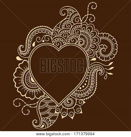 Decorative doodle heart in mhendi style. Floral frame in the shape of a heart. Element for design for Valentine's Day.