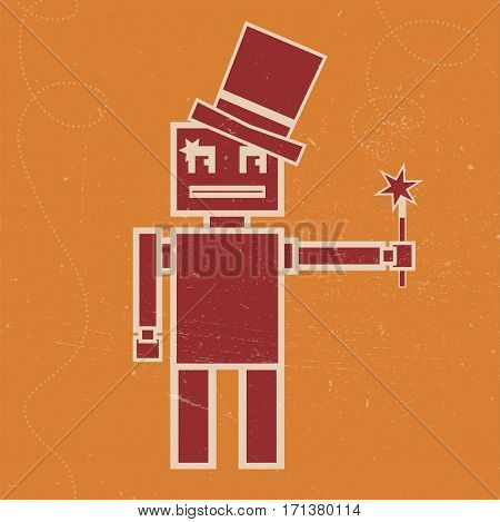 Vector illustration of Robot magician with the magic wand. Flat image in vintage syle on the orange background.