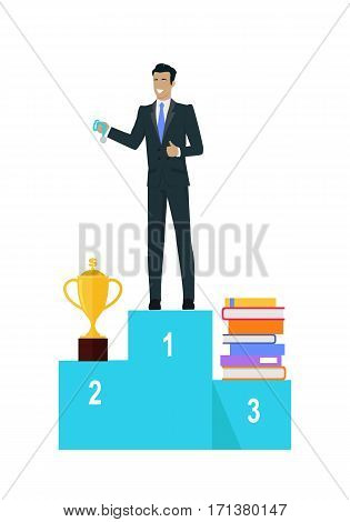 Business man with black hair in business suit and blue tie holding medal on pedestal of winners. Winner business concept. Business success and award concept. Smiling young man personage in flat design