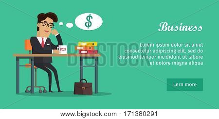 Business banner. Man sitting on chair at the desk, drinking coffee and thinking how much money he has earned. Smiling young boss in expensive suit. Business man worker, man in office desk, workplace