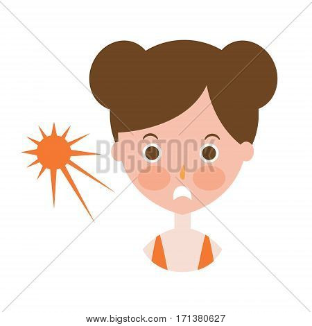 Woman Upset With Sunburn On Cheeks, Part Of Summer Beach Vacation Series Of Illustrations. Seaside Holidays Related Infographic Icon In Primitive Vector Carton Style.