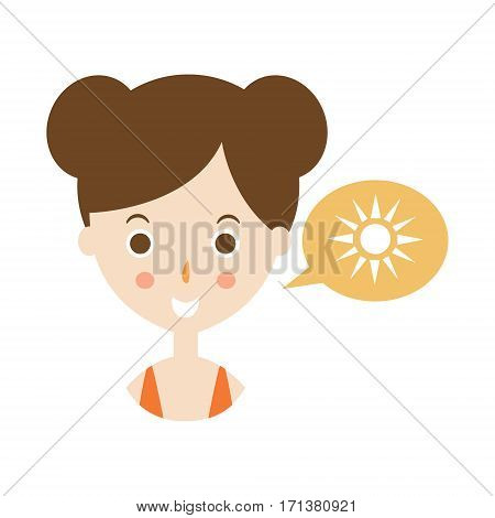 Plae Skin Womn Talking About Sunbathing, Part Of Summer Beach Vacation Series Of Illustrations. Seaside Holidays Related Infographic Icon In Primitive Vector Carton Style.