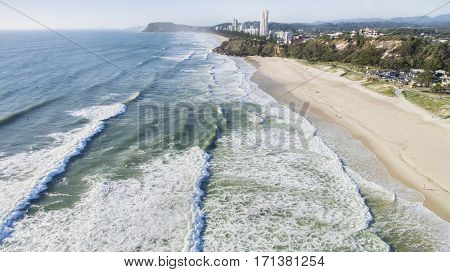 Aerial view of Miami beach from the ocean facing south towards Miami Headland. Gold Coast, Australia