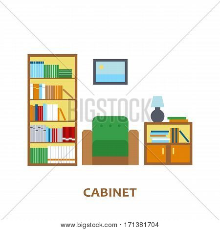 Lovely and colorful vector interior design cabinet room in trendy flat style. Modern home decoration. Minimalistic background. Geometric house elements