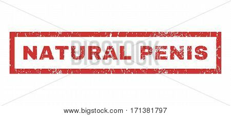 Natural Penis text rubber seal stamp watermark. Caption inside rectangular shape with grunge design and dirty texture. Horizontal vector red ink sign on a white background.