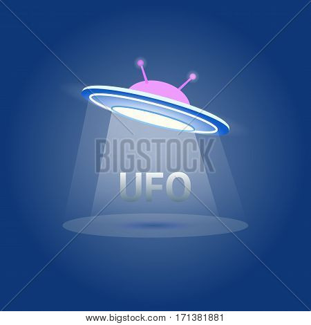 UFO Flying Saucer Icon isolated. Ufo logo element. Ufo illustration on white background. Cartoon style. liens icon.