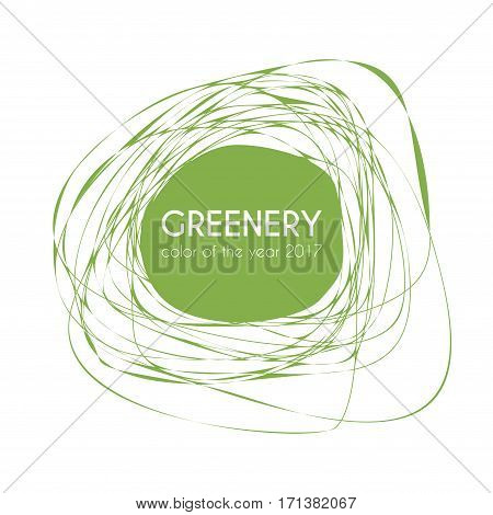 Greenery - color of the year 2017. Vector trendy frame