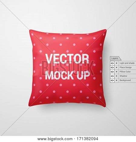 Mock Up of a Red Pillow Isolated on White Background