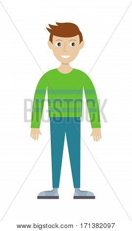 Man character vector in flat design. Smiling male in casual clothes. Illustration for profession, fashion, human concepts, app icons, infographics. Isolated on white background