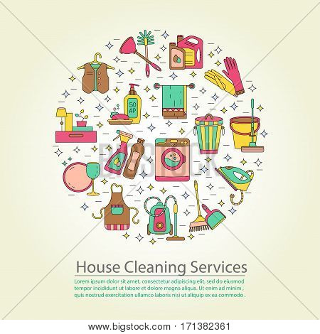 House cleaning vector card. For cleaning companies, laundries and dry cleaners service. Good for web and print.