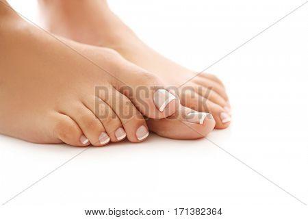 Skin care. Feet in close-up