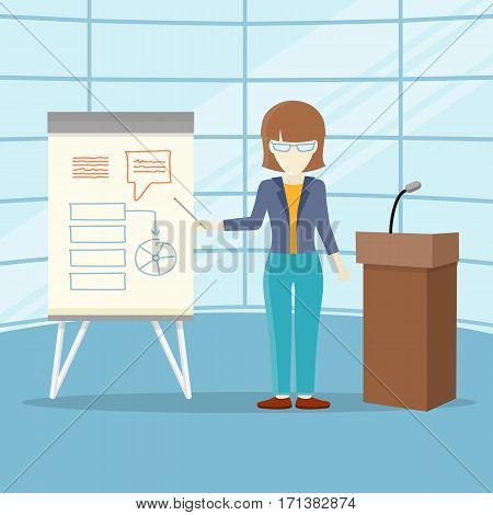 Business lecture concept vector. Flat design. Woman holding seminar near board with infographics. Certification training in office. Illustration for educational companies, career courses ad.