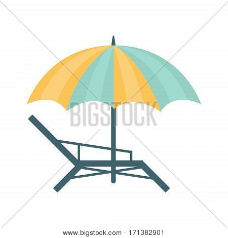 Metal Sunbed And Umbrella Of Blue And Yellow Colors, Part Of Summer Beach Vacation Series Of Illustrations. Seaside Holidays Related Infographic Icon In Primitive Vector Carton Style.