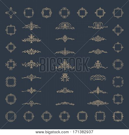 A huge rosette wicker border collection in vector.Vintage set for logos, certificate and page decoration in advertising. Business flourish signs and classic logo. Motifs frames and ornate elements.