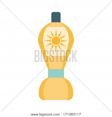 After Sun Lotion Cosmetic Product In Yellow Bottle, Part Of Summer Beach Vacation Series Of Illustrations. Seaside Holidays Related Infographic Icon In Primitive Vector Carton Style.
