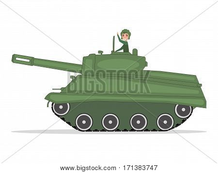 Vector illustration of cartoon man tanker traveling on a green tank. Isolated white background. Tankman rides on caterpillar tank. Side view, flat style. Feast Day of Victory.