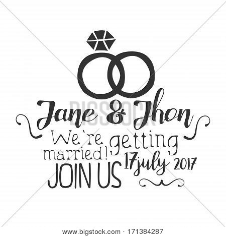 Wedding Day Black And White Invitation Card Design Template With Calligraphic Text And Rings. Monochrome Print Inviting To The Celebration Event In Classy Typography Style Vector Illustration.