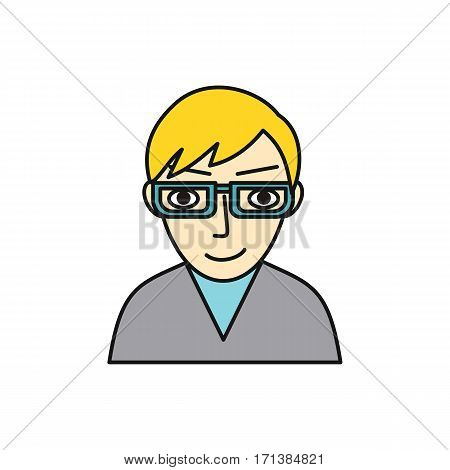 Man character avatar vector. Flat style. Male in glasses portrait. Illustration for identity in Internet, mood concepts, app pictograms, infographic. Isolated on white background.