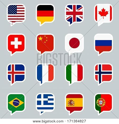 Speech Bubbles With Country Flags