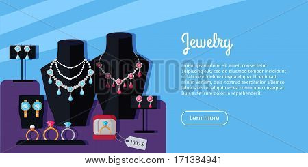Jewelry store showcase vector web banner. Flat Design. Necklace on mannequin bust, earrings on the stand, ring in box. Luxury women's accessories. Illustration for jewelry studio web page design