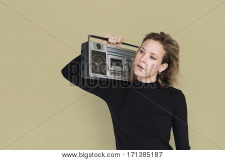Caucasian Lady Holding Jukebox Neutral