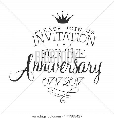Anniversary Party Black And White Invitation Card Design Template With Calligraphic Text. Monochrome Print Inviting To The Celebration Event In Classy Typography Style Vector Illustration