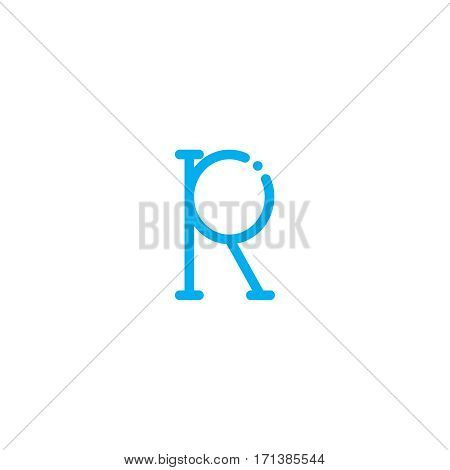 Thin vector font. Futuristic outline alphabet. High quality line alphabet. Elegant blue sign on white background. Latin minimal alphabet letter.