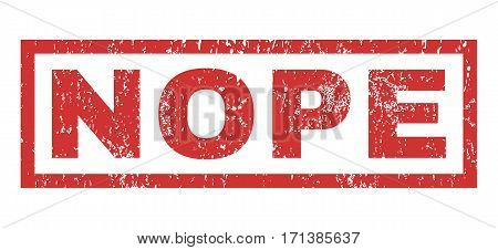 Nope text rubber seal stamp watermark. Tag inside rectangular shape with grunge design and dirty texture. Horizontal vector red ink sign on a white background.