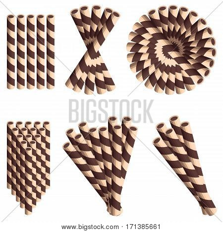 Chocolate wafer straws in cartoon style set isolated on white background.