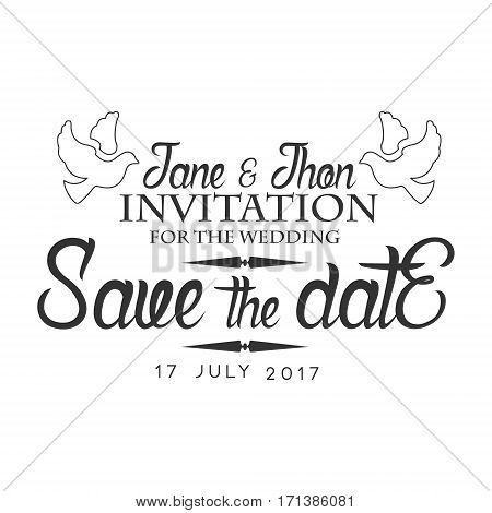 Wedding Black And White Invitation Card Design Template With Calligraphic Text With Doves. Monochrome Print Inviting To The Celebration Event In Classy Typography Style Vector Illustration