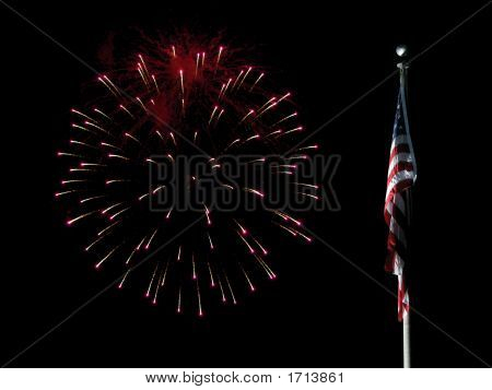 Us Flag With Red Fireworks