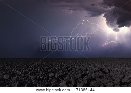 Thunderstorm With Lightning In Plowed Field. Thunderstorm Background