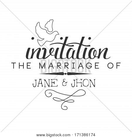 Marriage Black And White Invitation Card Design Template With Calligraphic Text With Dove. Monochrome Print Inviting To The Celebration Event In Classy Typography Style Vector Illustration